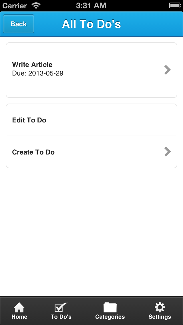example a to do list app using html javascript and the free ratchet