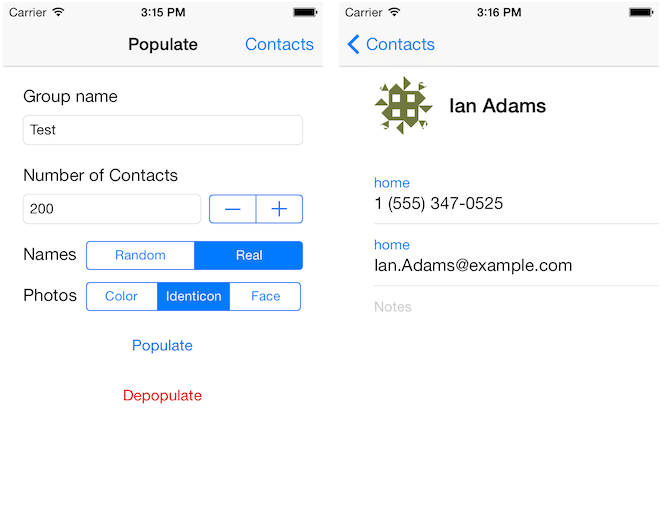IOS Library And Example App For Quickly Populating The Address Book With  Contacts